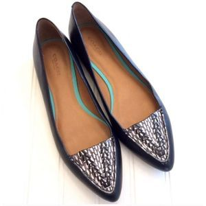 Coach Oakland Snake Print Flats Black Point Toe 9